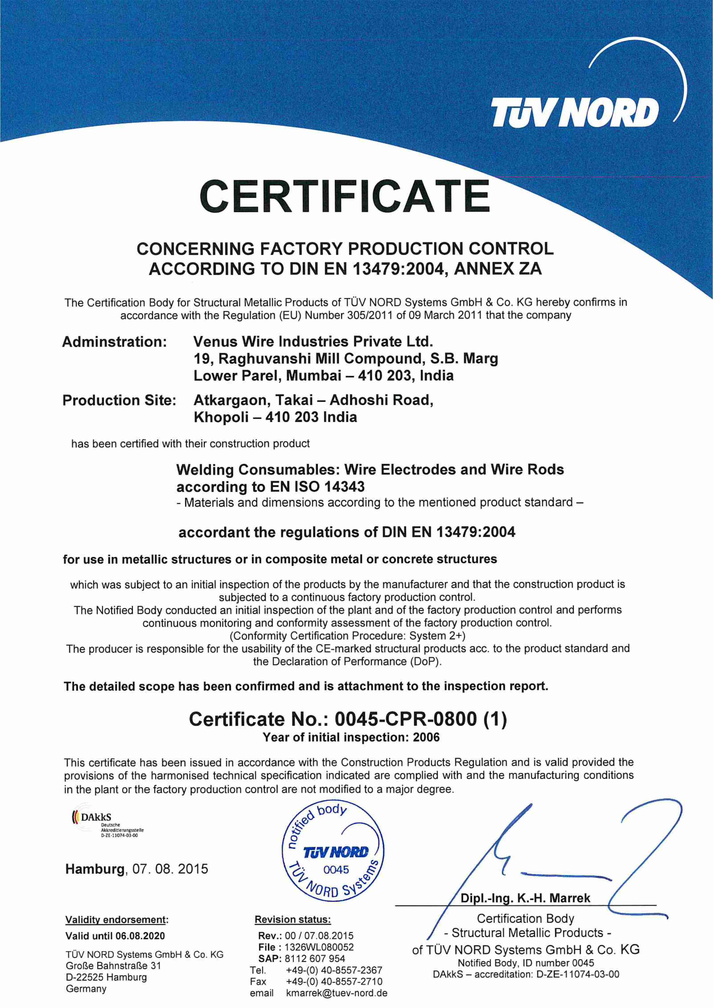Certifications System Approvals Venuswires